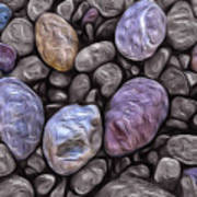 Stylized Beach Stones On Lake Superior Art Print