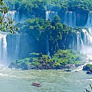 Subtropical Vegetation Surrounds Waterfalls In Iguazu Falls National Park-brazil Art Print