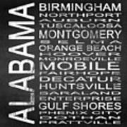 Subway Alabama State Square Art Print