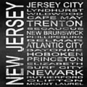 Subway New Jersey State Square Art Print