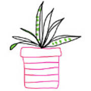 Succulent In A Pink Pot- Art By Linda Woods Art Print