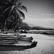 Sugar Beach Hawaiian Outrigger Canoes Kihei Maui Hawaii  Art Print