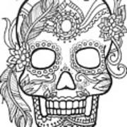 Sugar Skulls Black And White Series Art Print By Maria Padgett