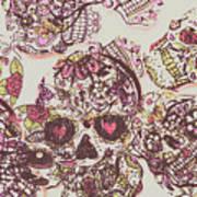 Sugarskull Punk Patchwork Art Print