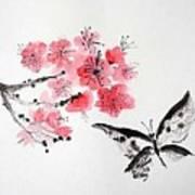 Sumi -e Butterfly Art Print