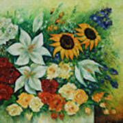 Summer Bouquet - Right Part Of Diptych. Art Print
