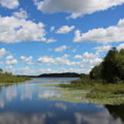Summer Cloud Reflections On Little Indian Pond In Saint Albans Maine Art Print