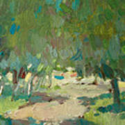 Summer Day In City Park. Trees Art Print
