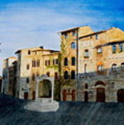 Summer Evening In San Gimignano Art Print