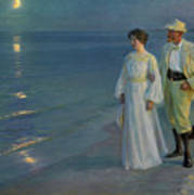 Summer Evening On The Beach At Skagen The Artist And His Wife Art Print