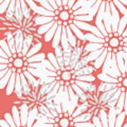 Summer Flowers Red Art Print