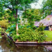 summer in old dutch village, Giethoorn Art Print