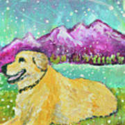 Summer In The Mountains With Summer Snow Art Print