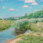 Summer Landscape With Children Art Print