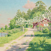 Summer Landscape With House Art Print