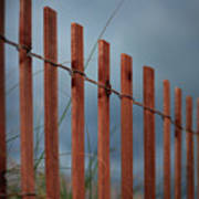 Summer Storm Beach Fence Art Print