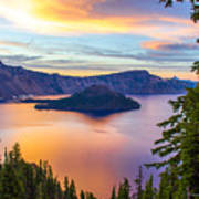 Sunset At Crater Lake, Oregon Art Print