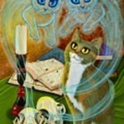 Summoning Old Friends - Ghost Cats Magic Art Print