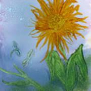 Sun Flower And Dragonflies  At Dusk Art Print
