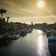 Sun Setting Over Canals Of Naples In Long Beach, Ca Art Print