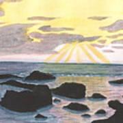 Sun Streaming Through Clouds Art Print
