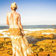 Sunbathing By The Sea Art Print