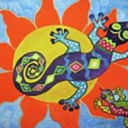 Sunbathing Lizards Art Print