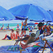 Sunday Beach Blues Art Print