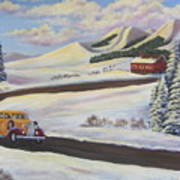 Sunday Drive In Winter Wonderland Art Print