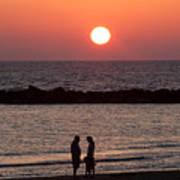 Sundown On Tel Aviv Beach Art Print