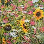 Sunflower And Cosmos Art Print