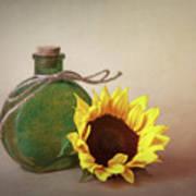 Sunflower And Green Glass Still Life Art Print
