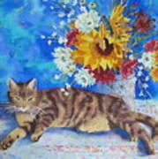 Sunflower Cat Art Print