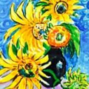 Sunflower On Black Vase Art Print