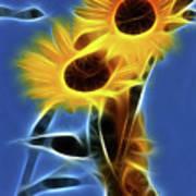 Sunflowers-4969-fractal Art Print