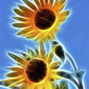 Sunflowers-5246-fractal Art Print