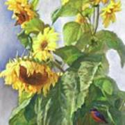 Sunflowers After The Rain Art Print
