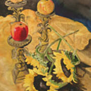 Sunflowers And Apples Art Print