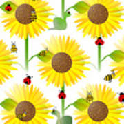 Sunflowers And Bees Art Print