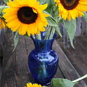 Sunflowers And Blue Vase - Still Life Art Print