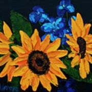 Sunflowers And Delphinium Art Print