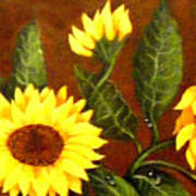Sunflowers And Dewdrops Art Print