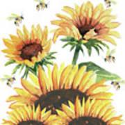 Sunflowers And Honey Bees Art Print