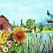 Sunflowers And Jaybird Art Print