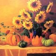 Sunflowers And Squash Art Print