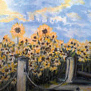 Sunflowers At Rest Stop Near Great Sand Dunes Art Print