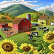 Sunflowers Cows Appalachian Farm Landscape - Rural Americana - Farm Animals - 1950 Farm Life - Barn Art Print