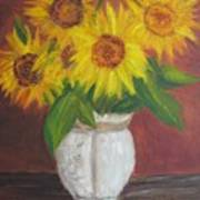 Sunflowers In A Clay Pot Art Print