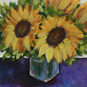 Sunflowers In A Square Vase Art Print