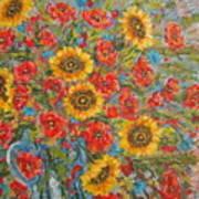 Sunflowers In Blue Pitcher. Art Print